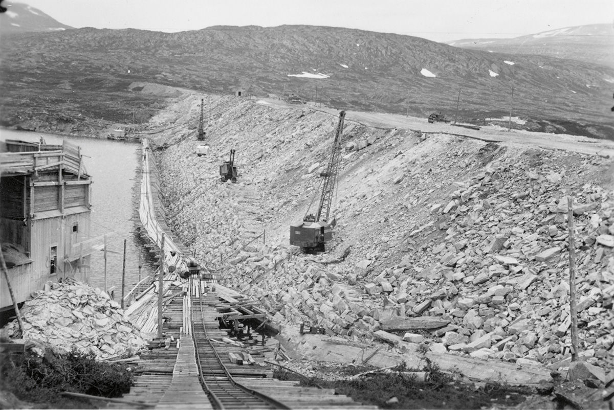 Construction of the Aursjø dam, Norway-1954
